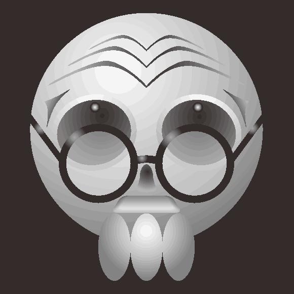 老眼鏡をかけた爺様ドクロのキャラクターイラスト
