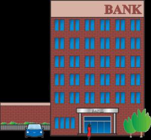 タイル貼りの地方銀行本店の建物