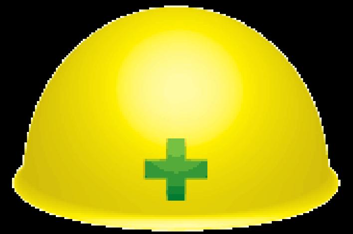 黄色に緑十字のヘルメット