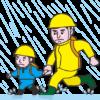 大雨が続くので避難している親子のイラスト