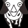 逆三角顔で目が大きい犬キャラのイラスト