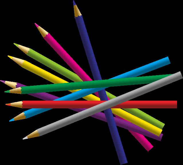 散らばっている9色の色鉛筆のイラスト