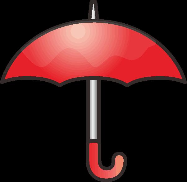 赤い雨傘のシンプルなイラスト