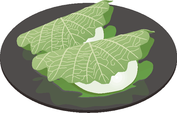 柏の葉でくるんだ柏餅が皿の上にのっているイラスト