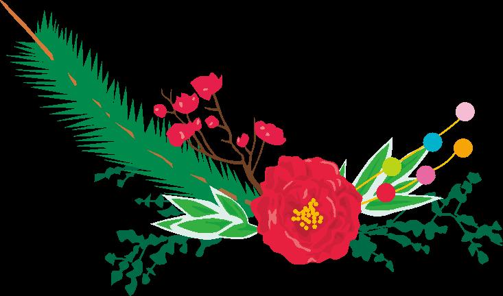 華やかな正月飾りのイラスト
