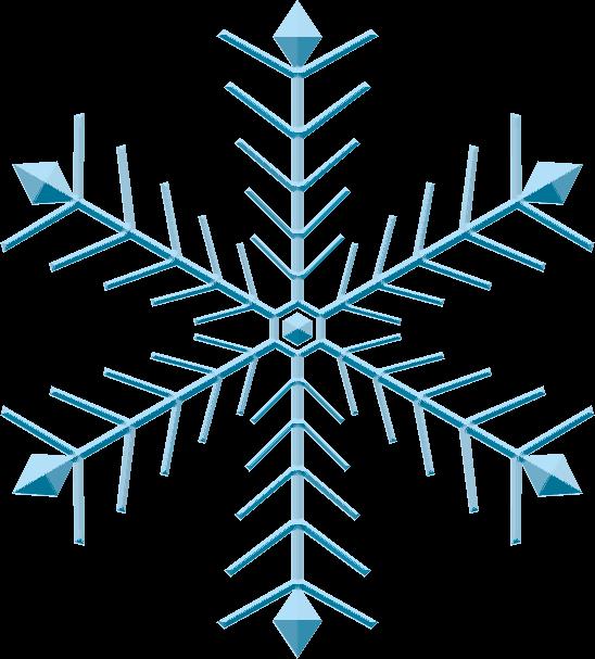 孔雀の羽根のような雪の結晶のイラスト