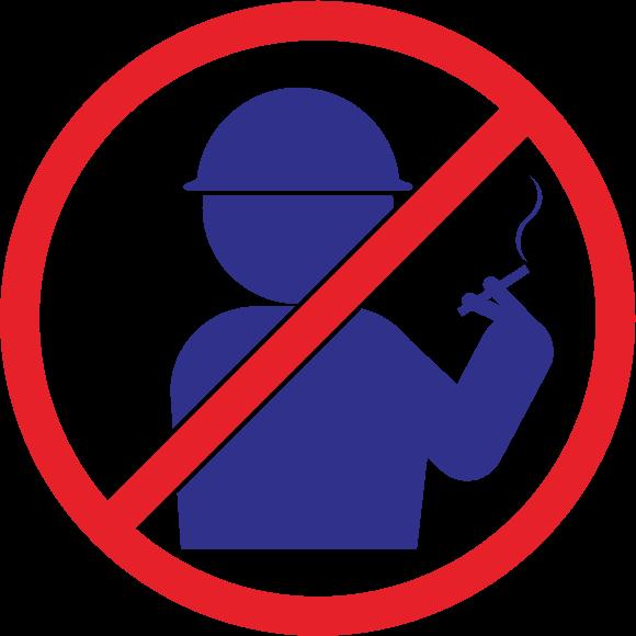「工事現場では禁煙」のピクトグラム