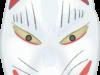 耳が赤くて目が吊り上がっている狐の面のイラスト