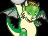 白い玉を握った緑のミニドラゴンのイラスト