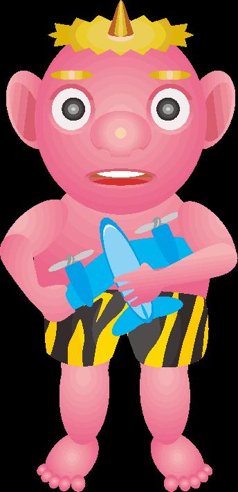 玩具を持った鬼の子どものイラスト