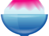 青いガラスの器にピンクシロップのかき氷のイラスト