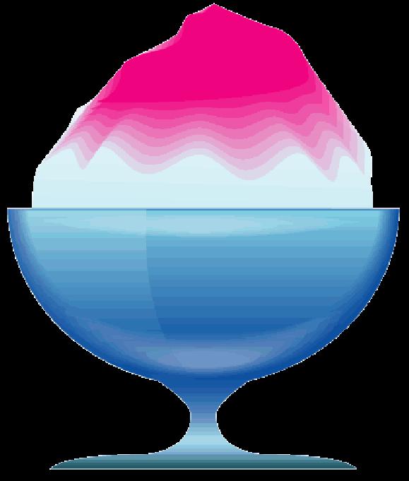 青いガラスの器に入ったピンクシロップのかき氷のイラスト