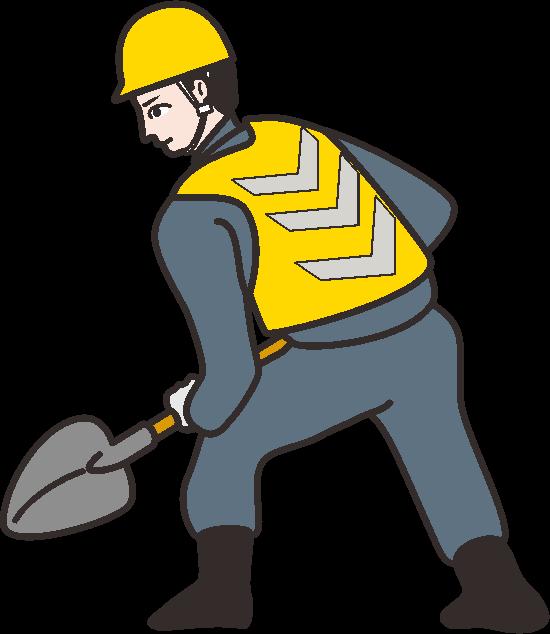 スコップを持った道路工事作業員のイラスト