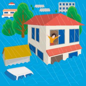 大雨で堤防が決壊し洪水になった