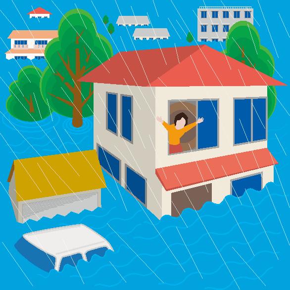 梅雨時の洪水