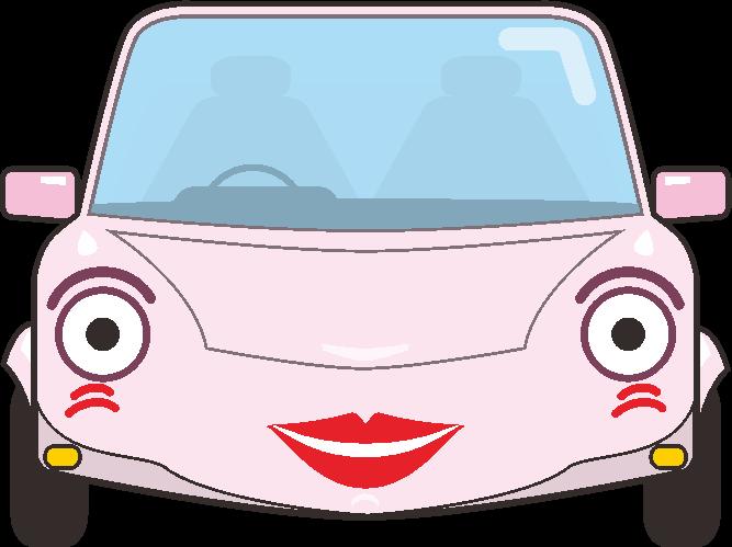 女性顔のクルマキャラのイラスト