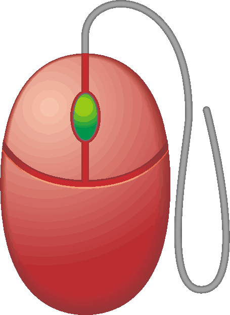 コード付きの赤いマウスのイラスト