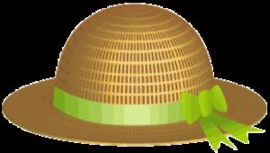 緑のリボンのついた麦藁帽子