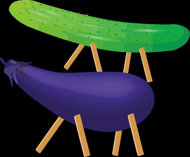 お盆のお供物のナスとキュウリの精霊馬のイラスト