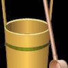 お墓参りの水桶とひしゃくのイラスト