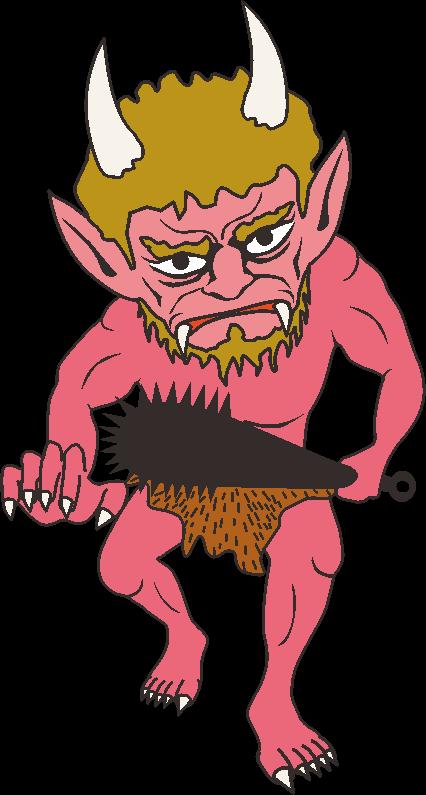 金棒を手にして恐ろしい形相で迫ってくる赤鬼のイラスト