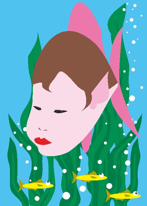 実はお魚だった乙姫様のイラスト