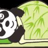 笹模様の布団にくるまって眠っているパンダのイラスト
