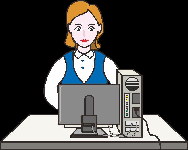 経理担当者がパソコンで会計ソフトを使っているイラスト