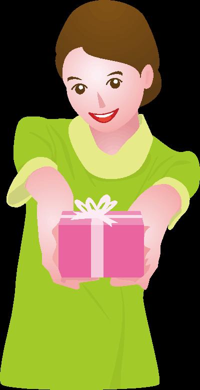 バレンタインデーのプレゼントを差し出している女性のイラスト