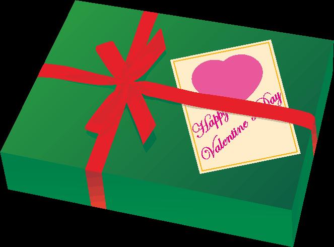 赤いリボンが巻かれたバレンタインデーのプレゼントのイラスト
