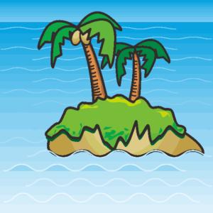 ヤシの木が2本ある南海の孤島