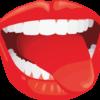 白い歯の間から舌を出している口のイラスト