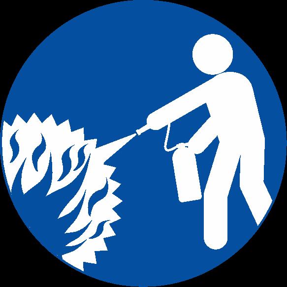 消火器で消火活動をしているピクトグラム