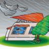 台風に飛ばされそうな家のイラスト