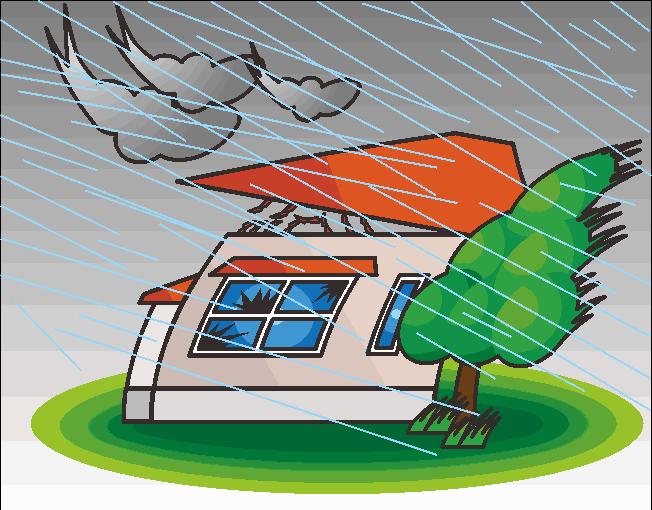 台風で飛ばされそうな家のイラスト