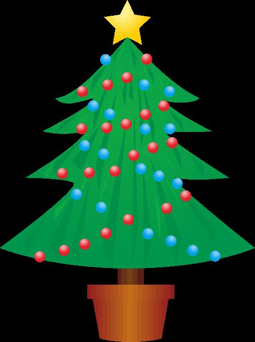 赤玉青玉で飾ったクリスマスツリーのイラスト