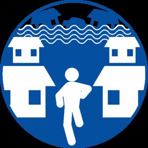 後方から押し寄せる津波から、走って避難している人物のピクトグラム