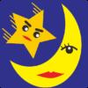 星男クンと月子サンの夜空デートのイラスト