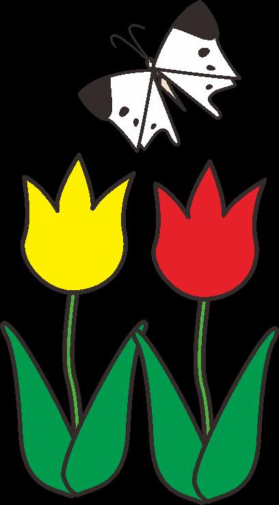 チューリップの花に舞うモンシロチョウののイラスト