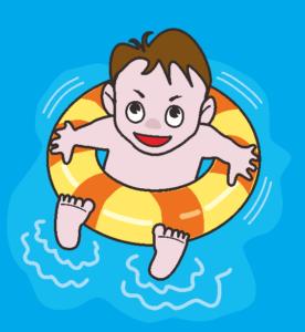 浮き輪につかまって水に浮いて遊んでいる男の子