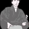 太宰治の似顔絵のイラスト