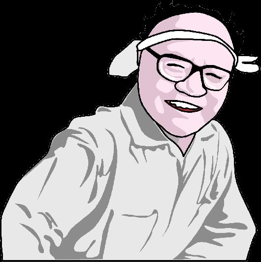 棟方志功の似顔絵イラスト