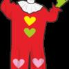 赤い服を着たピエロのオジサンのイラスト