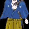 拳銃を持った坂本龍馬のイラスト