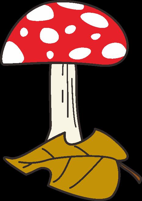 赤い傘に白い斑点のあるベニテングタケのイラスト