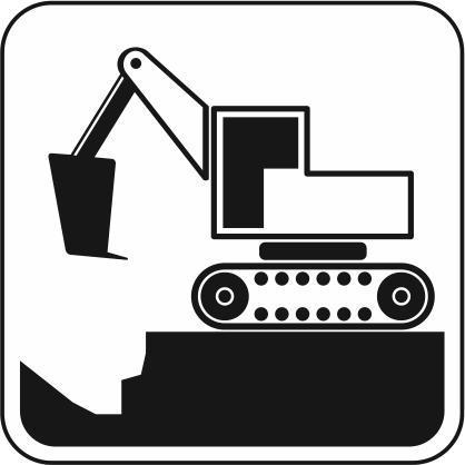 穴を掘っているバックホウのアイコン画像