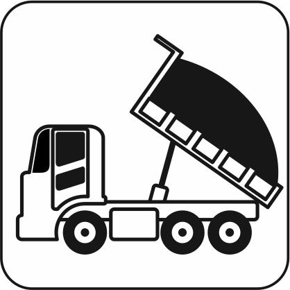 土砂を積んだダンプカーのアイコン画像