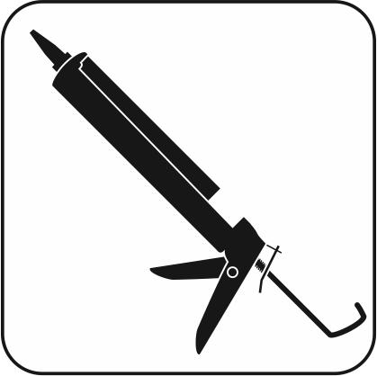 シリコーンシーラントを装着したコーキングガンのモノクロアイコン画像