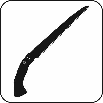 片手で使える剪定鋸のモノクロアイコン画像