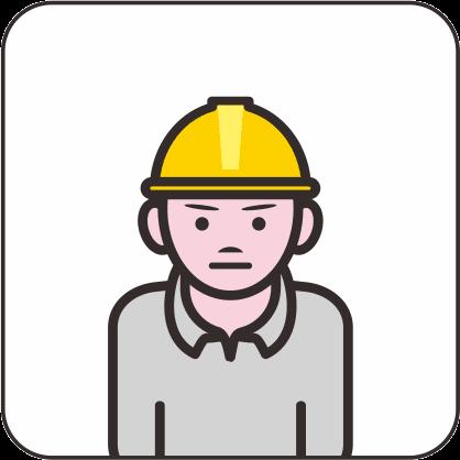 若い男性の工事作業員のアイコン